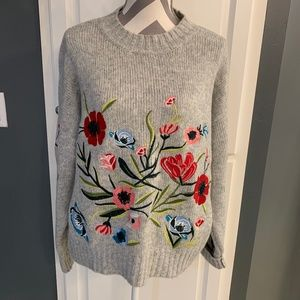 NWOT Floral Embroidered Sweater